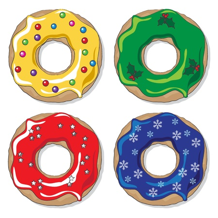 Christmas donuts in varying colourways with a variety of festive toppings   Vector