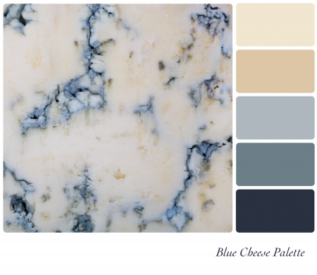 color tone: A background of sliced blue cheese. Colour palette with complimentary colour swatches