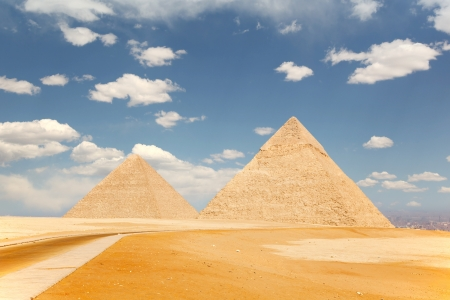 Two of the pyramids of Giza, just outside Cairo, Egypt photo