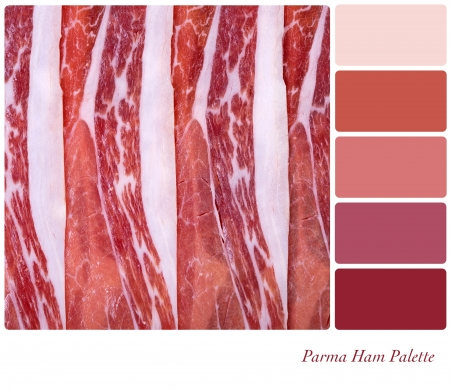 complimentary: A background of sliced Parma ham. Colour palette with complimentary colour swatches Stock Photo
