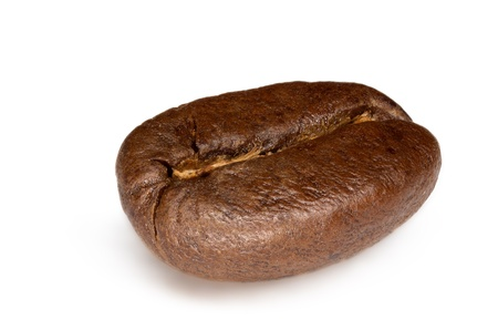 focus stacking: Extreme macro of a single coffee bean. Focus stacking has been used to enable front to back focus on such a small object.