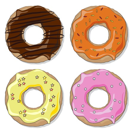 Four ring donuts over white background,  with a variety of flavours and toppings. EPS10 vector format