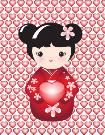 Kokeshi holding a glossy heart against backround of glossy hearts. EPS10 vector format