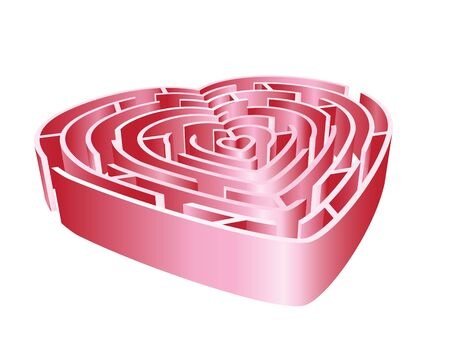 A 3D heart maze in shades of pink. Isolated on white background.   Vector