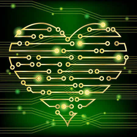 Circuit board heart concept, demonstrating a healthy heart firing electrical impulses and also a heart in love. Vector