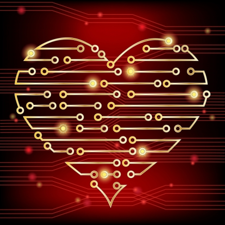Circuit board heart concept, demonstrating a healthy heart firing electrical impulses and also a heart in love. Stock Vector - 17583099
