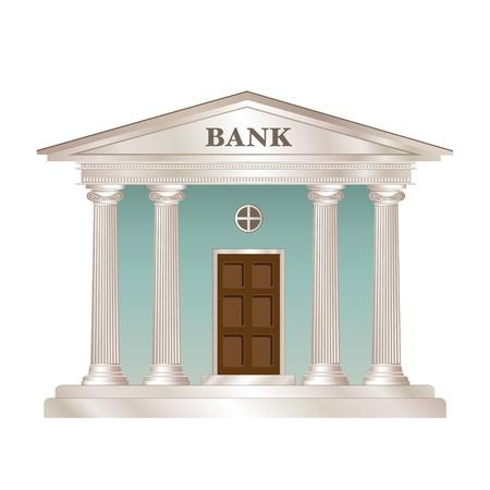 Bank gebouw in de stijl van een klassieke Griekse of Romeinse tempel.
