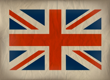 Vibtage Union Jack flag on crumplud brown paper.  Stock Vector - 17794804