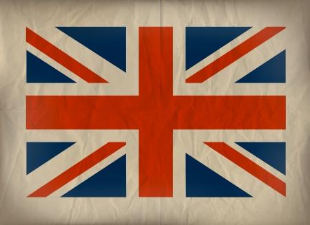british culture: Vibtage Union Jack flag on crumplud brown paper.