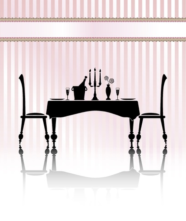 dinner table: Silhouette of a romantic table setting for two. Black and white with reflection and pink candystripe background. Banner for your text.