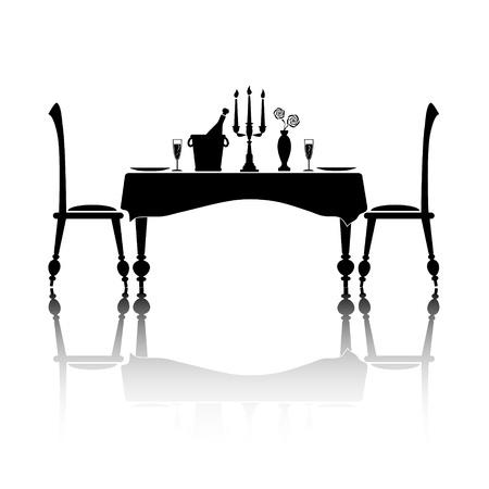 dinner date: Silhouette di un ambiente romantico tavolo per due. In bianco e nero con la riflessione e lo spazio per il testo.