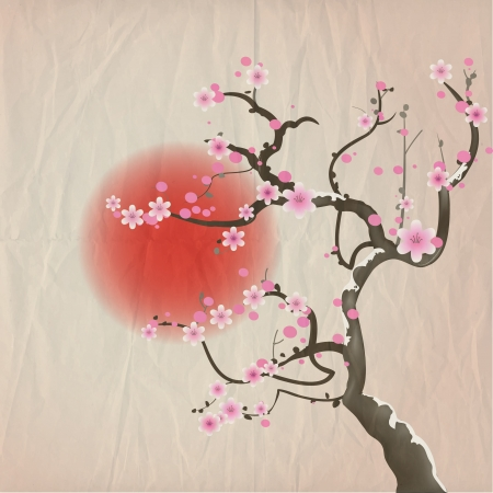 Bough of a cherry blossom tree against red sun. Crumpled paper vintage effect.   Vector