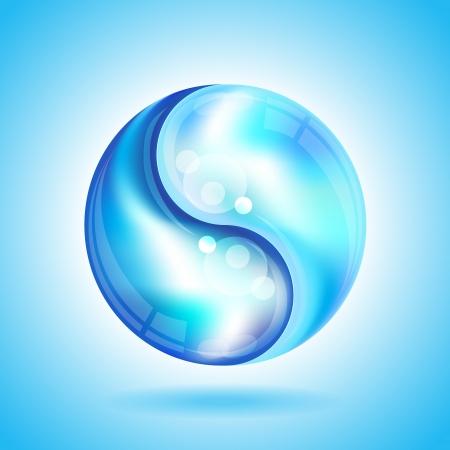 yin y yang: Dos gotas de agua formando la forma de un formato de Yin Yang vector EPS10