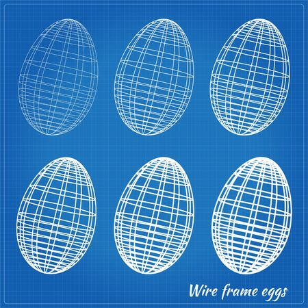Wire frame eggs with varying wire thickness. EPS10 vector format