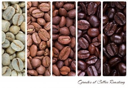 Un collage de grains de café montrant les différentes étapes de la torréfaction de première jusqu'au rôti italien Banque d'images
