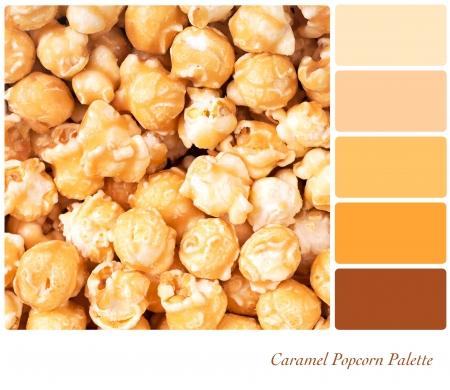 paleta de caramelo: Un fondo de las palomitas de caramelo en una paleta de colores con muestras de colores complementarios Foto de archivo
