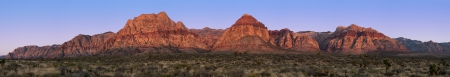 Panorama of Red Rock Canyon, Nevada, USA, at sunrise with yacca and Joshua trees in the foreground photo