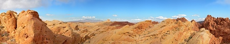 nevada: A panoramic view of the stunning rock formations of the Valley of Fire, Nevada, USA Stock Photo