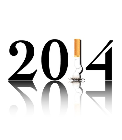 replaced: New Years resolution Quit Smoking concept with the i in 2014 being replaced by a stubbed out cigarette. EPS10 vector format.