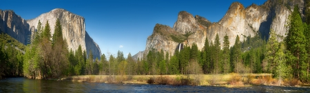 Yosemite Valley panorama showing the upper Yosemite Falls and the Bridalveil Falls with the Merced river in the foreground photo