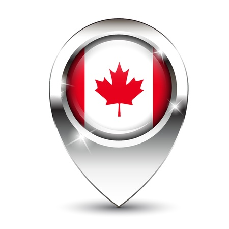 flag pin: Canadian flag on glossy map pin, against white background with shadow.  Illustration