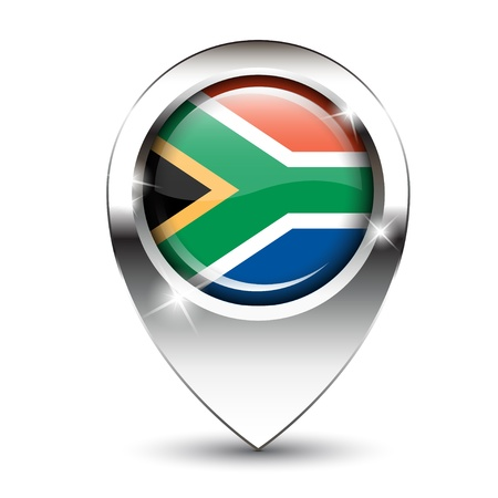 map pin: South African flag on glossy map pin, against white background with shadow.  Illustration