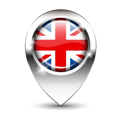 flag pin: Union Jack flag on glossy map pin, against white background with shadow. EPS10 vector format.