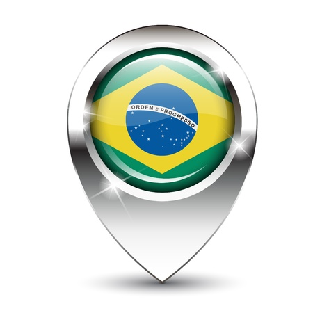 Brazilian flag on glossy map pin, against white background with shadow.  Stock Photo - 19903337