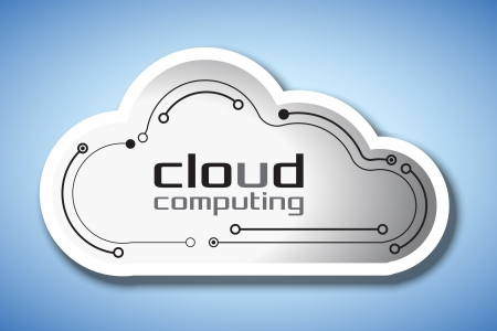 Cloud computing concept showing a cloud icon styled like a circuit board photo