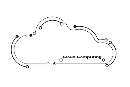Cloud computing concept in black and white, showing a cloud icon styled like a circuit board Imagens