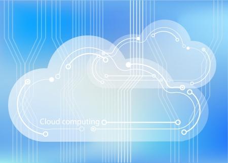 Cloud computing concept showing cloud icons styled like circuit boards agaisnt a circuit board background Stock Photo - 20103657