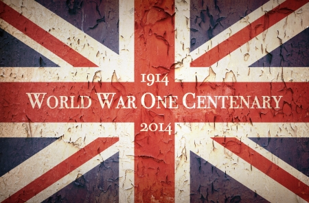world war one: Vintage style Union Jack to commemorate the Centenary of World War One, 1914 - 2014
