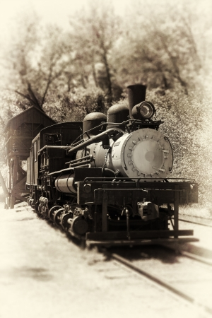 steam locomotives: Antique Locomotive. Sepia vintage photo style. Stock Photo