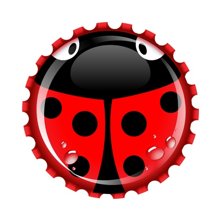Ladybird bottle cap with condensation drops on separate layer for easy editing. Ladybirds are a symbol of good luck photo