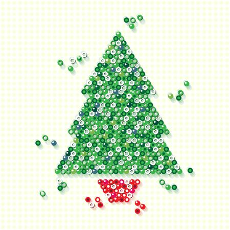 A Christmas tree in a red pot, created from a variety of small glossy beads over textured background. Simple radial gradients and transparencies. photo