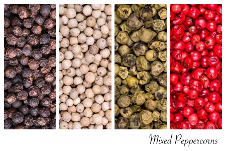 A collage of peppercorn varieties on white photo
