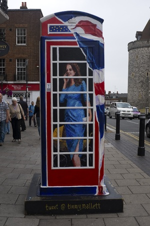 WINDSOR, UK - JULY 21: The Duchess of Cambridge depicted on Timmy Mallet's Ring a Royal Post Box. Art installation celebrating all things British, on July 21, 2013 in Windsor, UK.  Stock Photo - 21039818