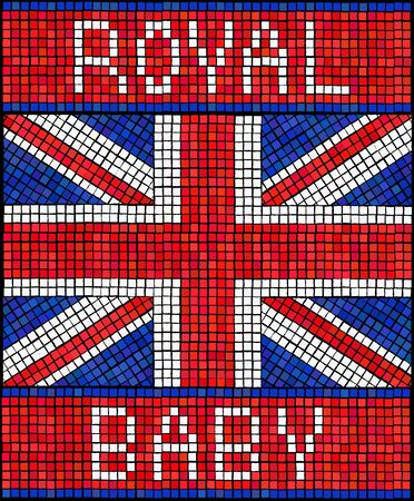 Birth of the Royal Baby concept. A Union Jack flag made from mosaic tiles. Vector