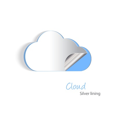 hosting cloud: Paper cutouts of a cloud with a silver lining. Cloud hosting and never losing date concept. EPS10 vector format with blends, simple gradients and transparencies.