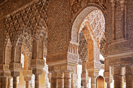 Columns and arches in the court of lions courtyard, Alhambra, Andalusia, Spain