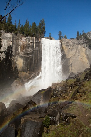 The spectacular Vernal Falls, with double rainbow, viewed from the Mist Trail, Yosemite National Park, california, USA photo