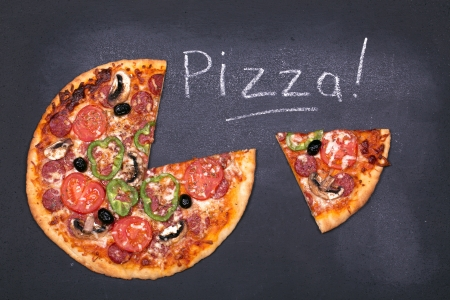 Pizza on chalkboard, with the word Pizza written in chalk. photo