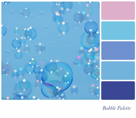 A background of delicate soap bubbles over a blue sky in a colour palette with complimentary colour swatches photo
