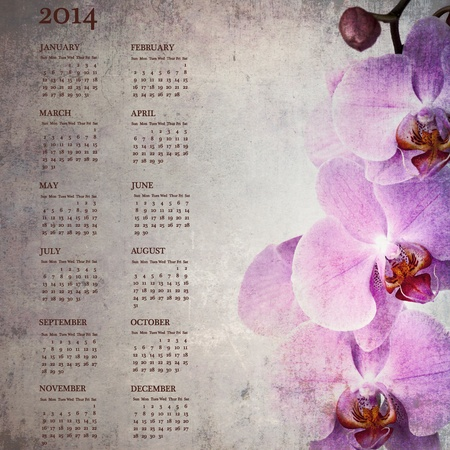 Vintage orqu�deas calendario para 2014 photo