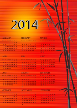 A 2014 calendar  Chinese style with bamboo and red silk and yellow sun background   Vector