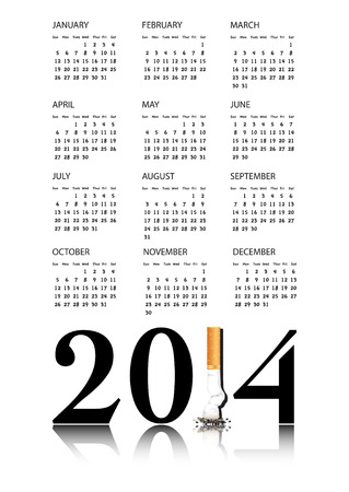 replaced: New Year resolution Quit Smoking Calendar with the 1 in 2014 being replaced by a stubbed out cigarette   Illustration
