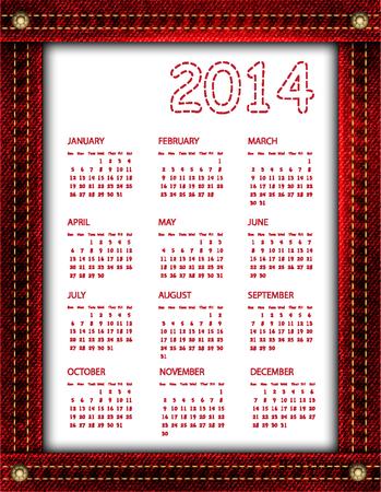 A red denim calendar for 2014   Vector