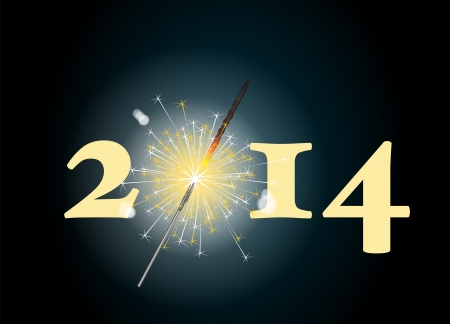 2014 banner with the zero being depicted by a glowing sparkler   Vector