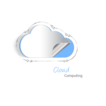 cutouts: Paper cutouts of a cloud with a silver lining. Cloud hosting and never losing date concept.