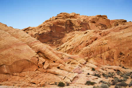stratified: Colourful rock formations in The Valley of Fire State Park, Nevada, USA